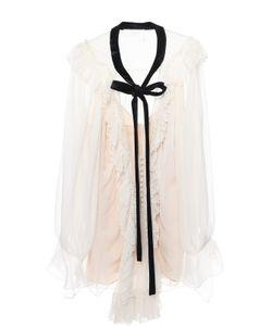 Chloe | Полупрозрачная Шелковая Блуза С Оборками И Контрастной Отделкой Chloé
