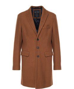 ARMANI JEANS | Шерстяное Однобортное Пальто С Остроконечными Лацканами
