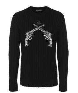 Dolce & Gabbana | Шерстяной Джемпер Фактурной Вязки С Нашивками