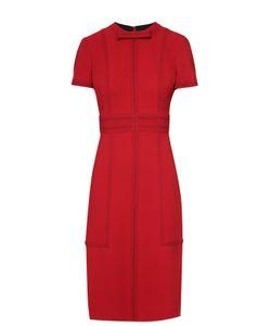 Burberry | Приталенное Платье-Миди С Контрастной Отделкой