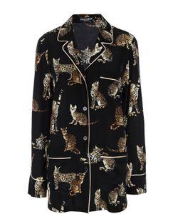 Dolce & Gabbana | Шелковая Блуза В Пижамном Стиле С Принтом В Виде Кошек Dolce