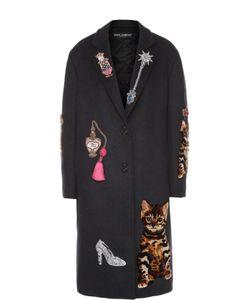 Dolce & Gabbana | Пальто Прямого Кроя С Контрастной Декоративной Отделкой