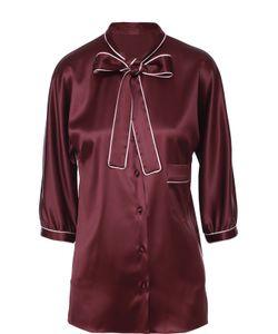 Dolce & Gabbana | Шелковая Блуза С Контрастной Отделкой И Воротником Аскот