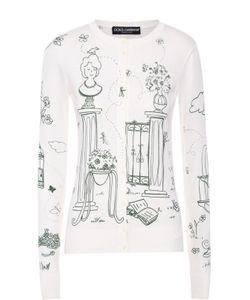 Dolce & Gabbana | Шелковый Кардиган На Пуговицах С Контрастным Принтом