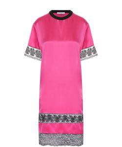 Givenchy | Шелковое Платье Прямого Кроя С Кружевными Вставками
