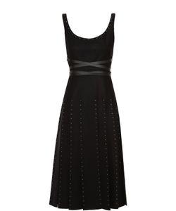 Valentino | Приталенное Платье С Заклепками И Юбкой В Складку