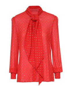 Saint Laurent | Шелковая Блуза С Воротником Аскот И Декоративной Отделкой