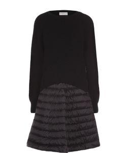 Moncler   Платье Фактурной Вязки С Утепленной Юбкой