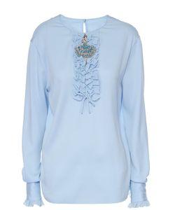 Dolce & Gabbana | Шелковая Блуза С Круглым Вырезом И Жабо