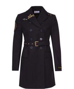 Red Valentino | Пальто Прямого Кроя С Поясом И Контрастной Отделкой Redvalentino