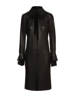 Ralph Lauren | Кожаное Платье С Отложным Воротником И Кружевной Отделкой