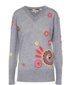 Burberry Brit | Пуловер С Контрастной Цветочной Вышивкой И V-Образным Вырезом