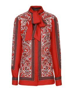 Alexander McQueen | Шелковая Блуза Прямого Кроя С Воротником Аскот