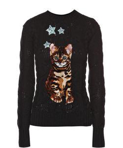 Dolce & Gabbana | Кашемировый Пуловер Фактурной Вязки С Декоративной Отделкой