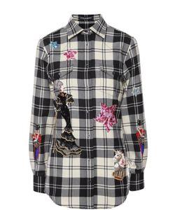 Dolce & Gabbana | Блуза В Клетку С Контрастной Вышивкой