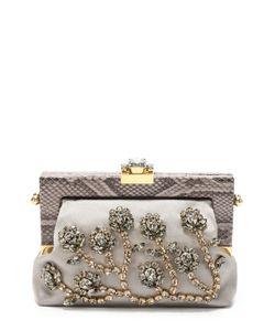 Dolce & Gabbana | Клатч Vanda С Кристаллами И Отделкой Из Кожи Питона Dolce