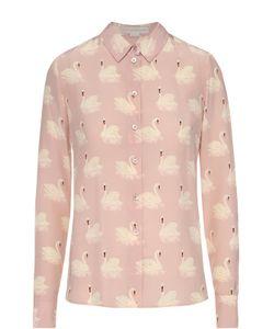 Stella Mccartney | Шелковая Блуза Прямого Кроя С Принтом В Виде Лебедей