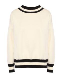 Moncler | Пуловер Прямого Кроя С Контрастной Вязаной Отделкой