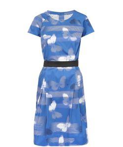 Escada Sport | Приталенное Платье С Круглым Вырезом И Контрастным Поясом