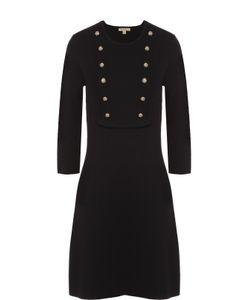 Burberry Brit | Приталенное Платье С Укороченным Рукавом И Декоративными Пуговицами