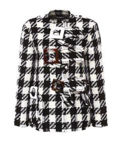 Dolce & Gabbana | Укороченное Пальто В Клетку С Декоративной Отделкой