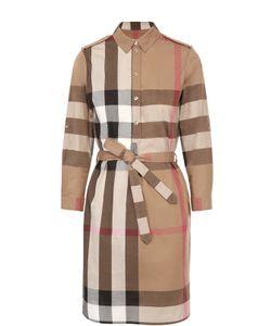 Burberry Brit | Хлопковое Платье-Рубашка С Поясом И Погонами