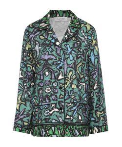 Valentino | Шелковая Блуза В Пижамном Стиле С Контрастным Принтом