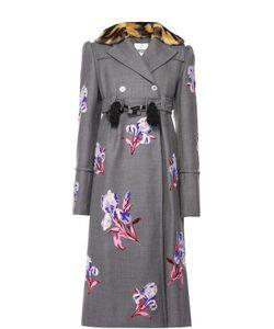 Kenzo | Приталенное Пальто С Цветочной Вышивкой И Меховым Воротником