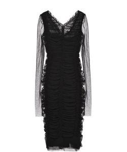 Dolce & Gabbana | Драпированное Платье-Футляр С V-Образным Вырезом