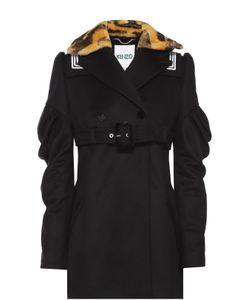 Kenzo | Пальто С Завышенной Талией И Контрастным Меховым Воротником