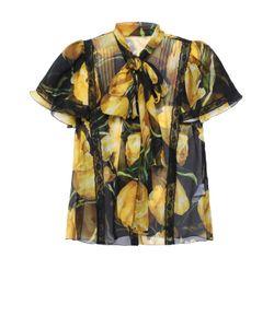 Dolce & Gabbana | Шелковая Блуза С Коротким Рукавом И Воротником Аскот