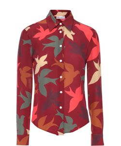 Red Valentino   Шелковая Блуза Прямого Кроя С Контрастным Принтом Redvalentino