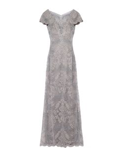 Tadashi Shoji | Кружевное Приталенное Платье В Пол С Вырезом На Спине