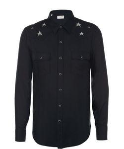 Saint Laurent | Рубашка Из Вискозы На Кнопках