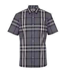 Burberry | Рубашка Из Эластичного Хлопка С Короткими Рукавами
