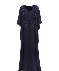St. John | Платье В Пол С Поясом И Цветочной Вышивкой