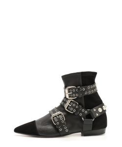 Isabel Marant | Комбинированные Ботинки С Декоративными Ремешками И Люверсами