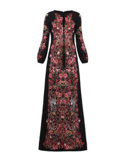 Roberto Cavalli | Приталенное Платье В Пол С Ярким Принтом И Длинным Рукавом Roberto