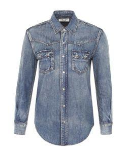 Saint Laurent | Приталенная Джинсовая Блуза С Накладными Карманами