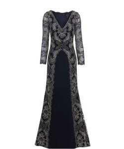 Tadashi Shoji | Кружевное Приталенное Платье В Пол С V-Образным Вырезом