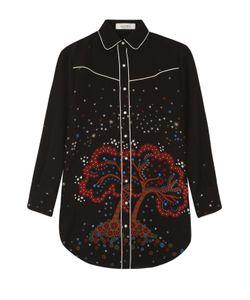 Valentino | Удлиненная Шелковая Блуза С Контрастным Принтом
