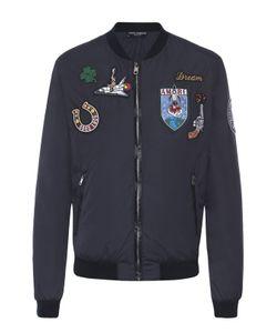 Dolce & Gabbana | Бомбер На Молнии С Нашивками И Отделкой Из Натуральной Кожи Dolce