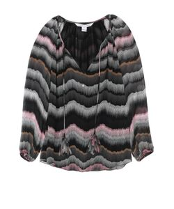 Diane Von Furstenberg | Шелковая Блуза На Кулиске С Контрастным Принтом