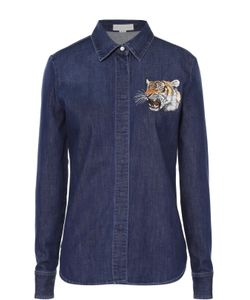 Stella Mccartney | Джинсовая Блуза Прямого Кроя С Вышитым Тигром
