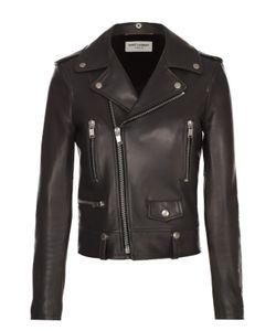 Saint Laurent | Укороченная Кожаная Куртка С Косой Молнией
