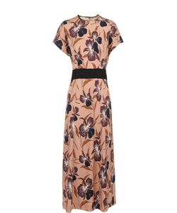 Dries Van Noten | Приталенное Платье С Цветочным Принтом И Контрастным Поясом