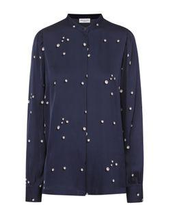 Dries Van Noten | Шелковая Блуза Прямого Кроя С Принтом И Воротником-Стойкой