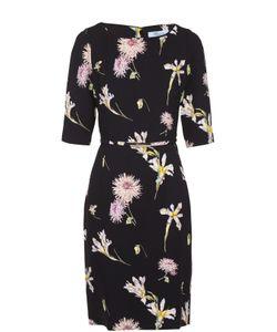 Blumarine | Приталенное Платье С Цветочным Принтом И Коротким Рукавом
