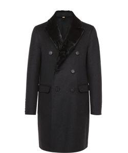 Burberry | Шерстяное Двубортное Пальто С Меховой Отделкой Воротника