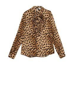Blumarine | Шелковая Блуза С Леопардовым Принтом И Фактурной Отделкой